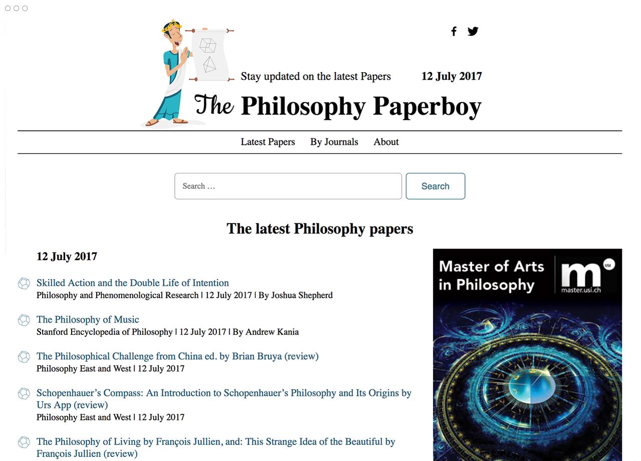 Immagine dell'homepage di The Philosophy Paperboy